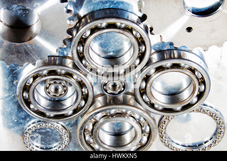 titanium ball-bearings and gears, engineering parts - Stock Image