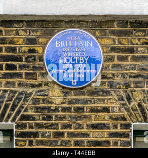 A blue plaque on the house in Doughty Street, Holborn, occupied by Vera Brittain and Winifred Holtby. - Stock Image