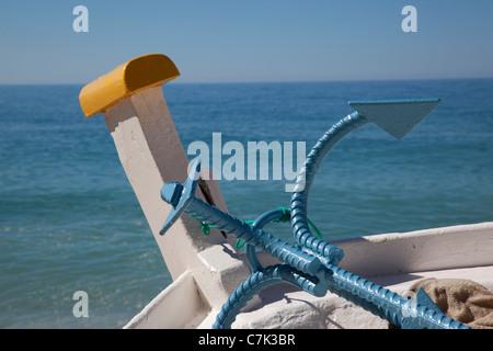 Portugal, Algarve, Benagil, Boat & Anker - Stock Image