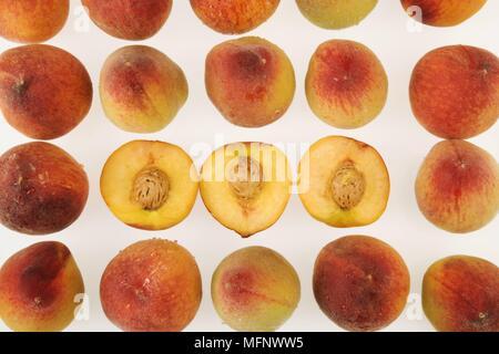 Fresh peaches. White background. Studio shot.         Ref: CRB538_103609_0033  COMPULSORY CREDIT: Martin Harvey / Photoshot - Stock Image