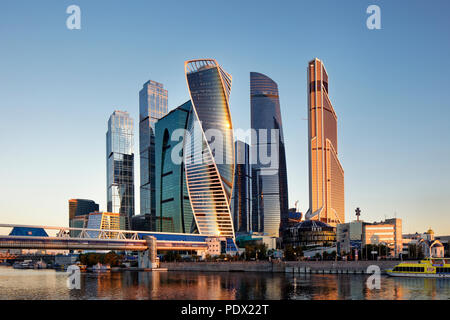 High rise buildings of Moscow International Business Centre (MIBC, or Moscow City) at sunrise. Moscow, Russia. - Stock Image
