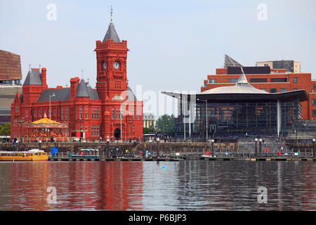 UK, Wales, Cardiff, Bay, Pierhead Building, National Assembly for Wales, - Stock Image