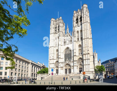 Brussels cathedral of St Michael and St Gudula Cathedral, Brussels, Belgium,EU, Europe - Stock Image