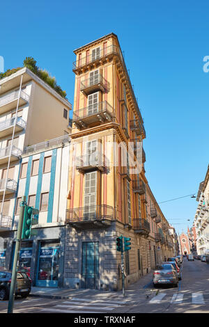 TURIN, ITALY - AUGUST 21, 2017: Scaccabarozzi slim house also known as polenta slice in a sunny day, clear blue sky in Italy - Stock Image