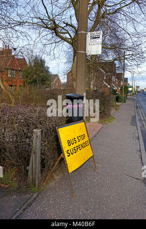 Bus Stop Suspended Sign - Coggeshall Road, Braintree, Essex, UK - Stock Image