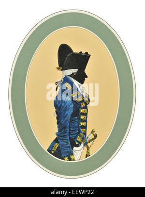 Captain three years post Frock Uniform 1787 1795 Her Majesty's Royal Navy blue white red ceremonial uniform - Stock Image