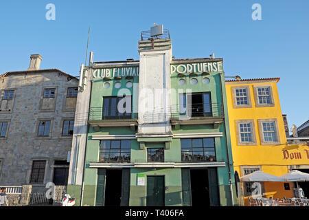 Club Fluvial Portuense building facade on Cais de Gaia, Vila Nova de Gaia in Porto, Portugal Europe EU  KATHY DEWITT - Stock Image