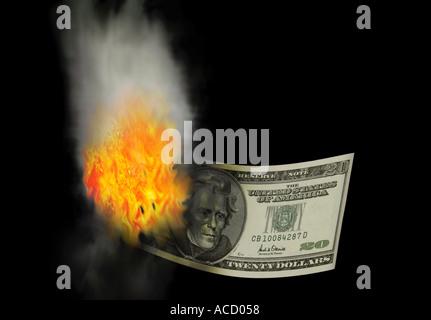 A Burning Twenty Dollar Bill - Stock Image