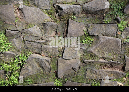 Lovely texture of an outdoor floor made of asymmetric rocks / tiles. In between those there is some green grass growing. Beautiful earthy colors. - Stock Image