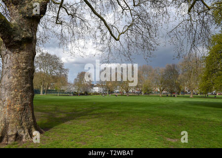 Parsons Green and Fulham London UK - Eel Brook Common park - Stock Image