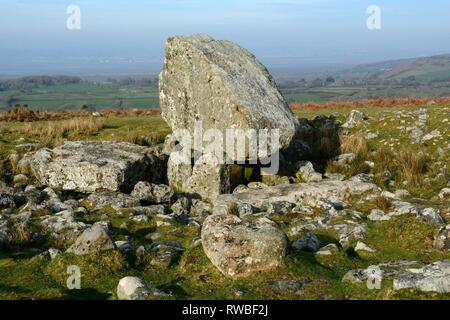 Arthurs Stone Maen Ceti Neolithic burial chamber King Arthurs STone Cefn Bryn Gower Wales Cymru UK - Stock Image