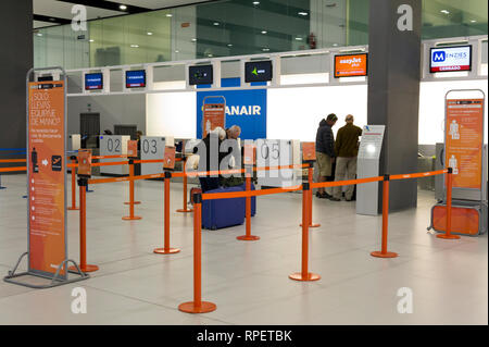 Check in desk at Corvera Airport, Murcia, Spain - Stock Image