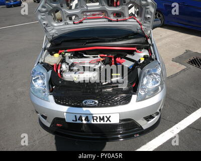 Ford Fiesta Mk6 ST modified shown at donnington park race circuit at the RS owners club national day 2017 shows modified engine bay - Stock Image