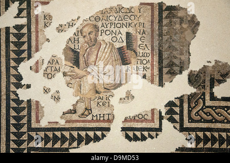 Roman mosaic of the Greek philosopher Metrodorus of 2nd and 3rd cent in Museum Rolin Autun France - Stock Image