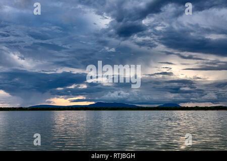 Lake sunset landscape, Tanzania, East Africa - Stock Image