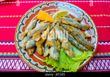 Grilled small fish, scad, Sozopol, Bulgaria - Stock Image