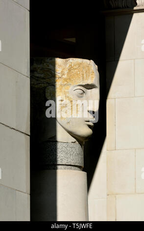 London, England, UK. Angel Head sculpture (Emily Young: 2003) Ludgate Hill near St Paul's Cathedral. One of five similar works - Stock Image