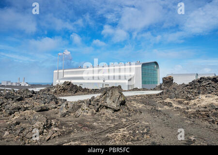 Reykjanes Power Station, a geothermal power station located in the Reykjanes Peninsula at the southwest tip of Iceland. - Stock Image