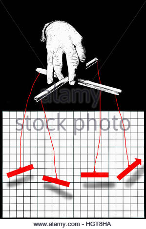 Businessman puppeteer manipulating graph - Stock Image