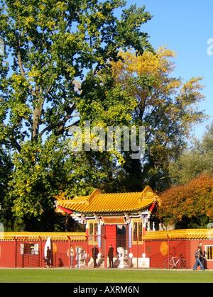 Switzerland Zuerich china garden near lake autumn Schweiz Zuerich China Garten beim See im Herbst - Stock Image