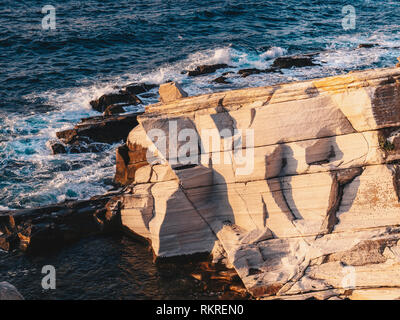 Ruins of the marble port Aliki quarry on the shore of Thasos island (Thassos), Greece - Stock Image