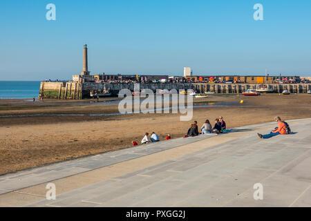Margate Harbour,Autumn Sunshine,Lighthouse and Pier,Thanet,Kent,England - Stock Image