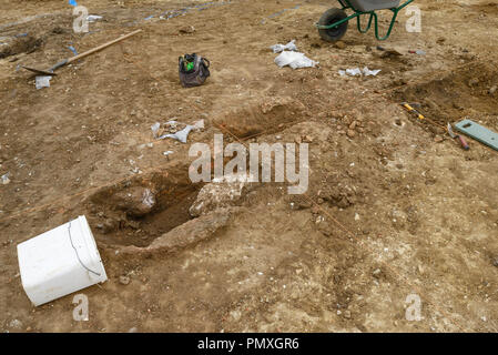 Archeological excavation of a kiln at a site of Roman occupation in Watton Norfolk UK - Stock Image
