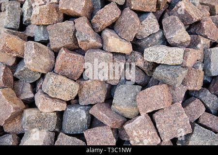 granite cobblestone pavers - Stock Image