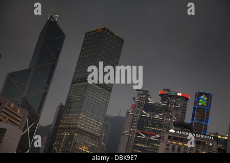 central business district financial kowloon dusk - Stock Image