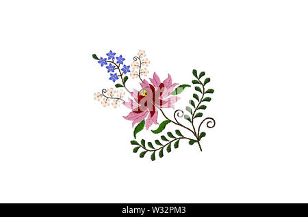 White background with embroidered small blue and white flowers on twisted branches with leaves next to a large flower of red and pink petals - Stock Image