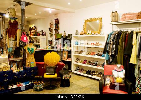 The interior of specialist vintage and retro fashion store El Dorado in Lisbon's Bairro Alto - Stock Image