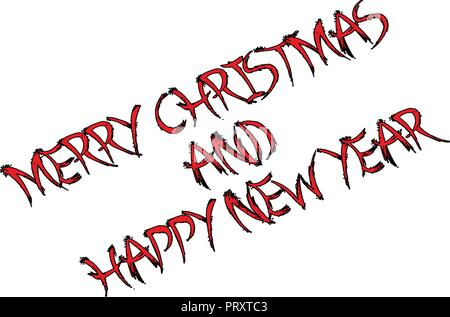 Merry Christmas and Happy new year text sign illustration on a white background - Stock Image