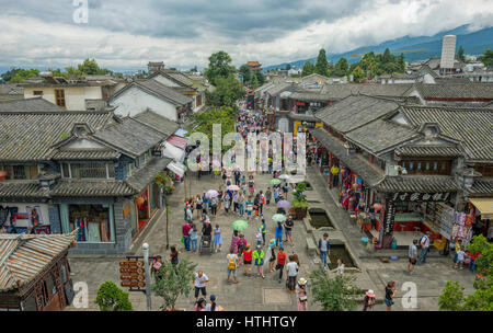 Aerial view of the main pedestrian street and shopping area of ancient Dali old town in Yunnan, China - Stock Image