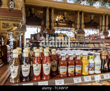 Condiments on sale at Eliseevsky Gastronom # food store, Tverskaya 14, Moscow, Russia - Stock Image