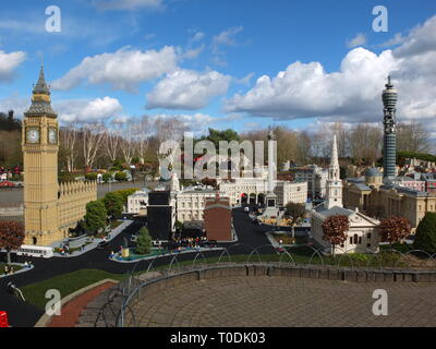 LEGOLAND Windsor Miniland - lego versions of famous London landmarks including Big Ben, Nelson's Column and the Post Office Tower - Stock Image