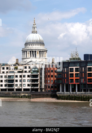 River Thames and St Paul's cathedral London - Stock Image