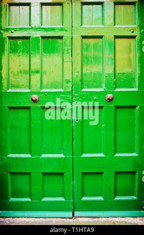 Double green Wooden Door - Stock Image