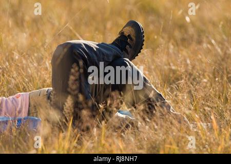 Wanderer im Gras liegend, close-up,  Lungau, Salzburger Land, Österreich - Stock Image