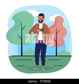 fun man with smartphone with casual clothes vector illustration - Stock Image