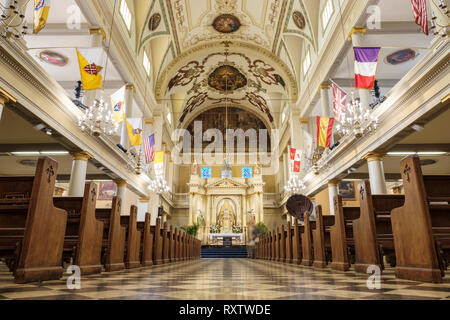 Interior of New Orleans St. Louis Cathedral, New Orleans French Quarter, New Orleans, Louisiana, LA, United States of America, USA - Stock Image