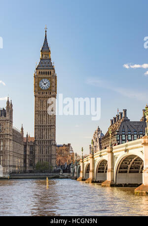 Elizabeth Tower and Westminster Bridge. - Stock Image