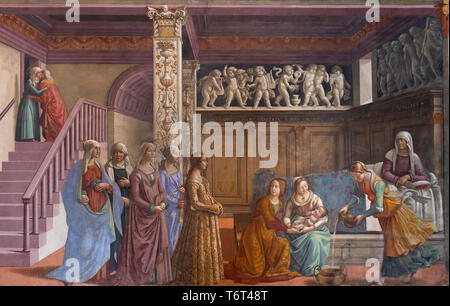 The Nativity of Mary, Domenico Ghirlandaio, 1485-1490, Cappella Tornabuoni, Tornabuoni Chapel, Basilica di Santa Maria Novella, Church of Santa Maria  - Stock Image