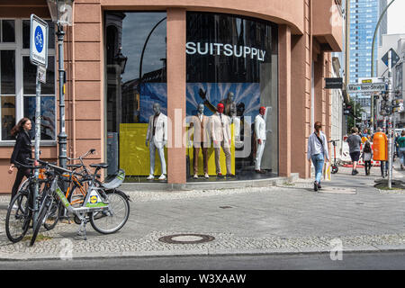 Berlin, Mitte. Suit Supply men's clothing store exterior. Clothes shop for men - Stock Image