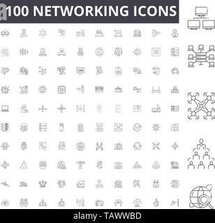 Networking line icons, signs, vector set, outline illustration concept  - Stock Image