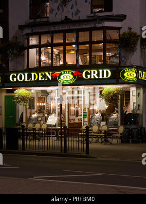 The Golden Grid seafood restaurant, Scarborough, at night. unsharpened - Stock Image