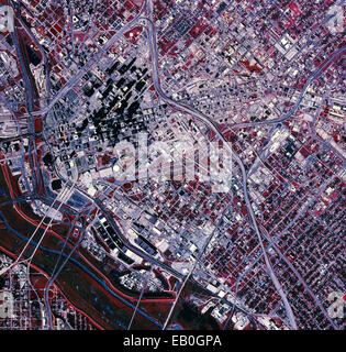 color infrared aerial photograph Dallas, Texas, 1995 - Stock Image