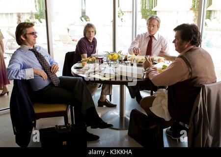 FROST / NIXON MICHAEL SHEEN as David Frost, SAM ROCKWELL as James Reston Jr., MATTHEW MACFADYEN as John Birt, OLIVER - Stock Image