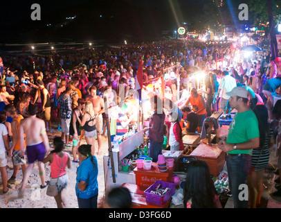 Haad Rin beach at the Full Moon Party Koh Phangan Thailand - Stock Image