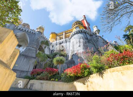 Impressive Pena palace. Sintra, Portugal - Stock Image