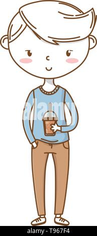 Stylish boy blushing cartoon outfit pants sweater soda cup  isolated vector illustration graphic design - Stock Image